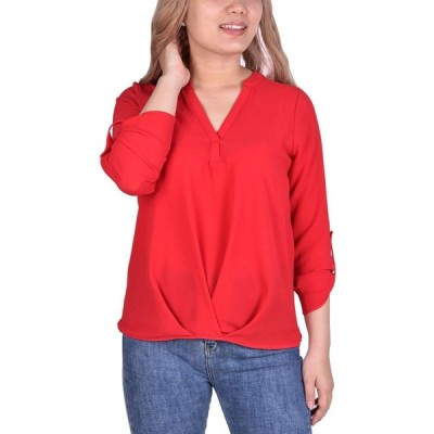 NY コレクション NY Collection レディース トップス Petite Roll-Tab-Sleeve Top Red