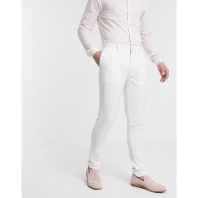 エイソス ASOS DESIGN メンズ スラックス ボトムス・パンツ wedding super skinny suit trousers in white ホワイト