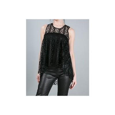 トップス ティーバッグス Tbags T-Bags Los Angeles High-Low Crochet Sleeveless Top in Black
