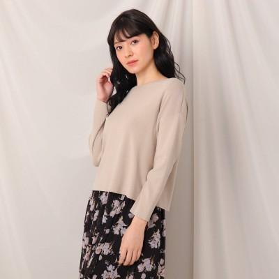 クチュール ブローチ Couture brooch バックリボンニットトップス (ベージュ)