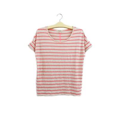 【中古】ビーミングバイビームス Tシャツ プルオーバー Uネック ボーダー 半袖 ONE ベージュ ピンク レディース 【ベクトル 古着】
