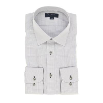 【タカキュー】 形態安定抗菌防臭スリムフィット ワイドカラー長袖ビジネスドレスシャツ/ワイシャツ メンズ グレー S:37-80 TAKA-Q