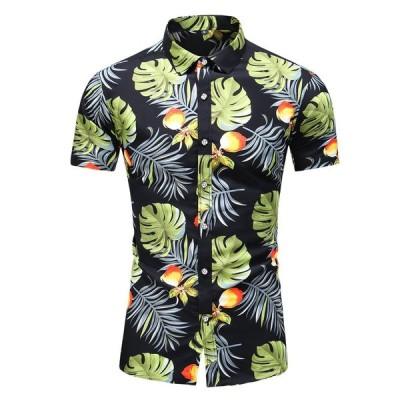 男性の半袖シャツハワイアンプリント男性ブラウストップストリートカジュアルスリムフィットターンダウン襟シャツ男性カミーサ