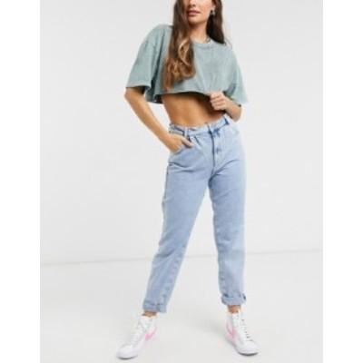 ニュールック レディース デニムパンツ ボトムス New Look balloon jeans in bleached light blue LIGHT BLUE