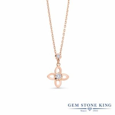 ネックレス レディース 0.05カラット ラボグロウンダイヤモンド 14金 ピンクゴールド(K14) フラワー 花 ダイヤ 小粒 華奢 細身 プレゼン
