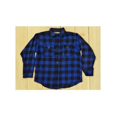 美品 古着 60S バッファロープレイド ウールネルシャツ 青×黒 SOO WOOLENS MADE IN USA