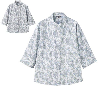 7分袖 ななめボタン ペイズリー柄 ブラウスシャツ 綿100% シニアファッション レディース 60代 70代 80代 90代 おしゃれ 春夏 高齢者 服