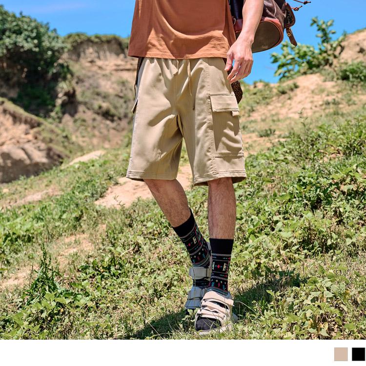 高質感設計腰頭工裝大口袋休閒短褲