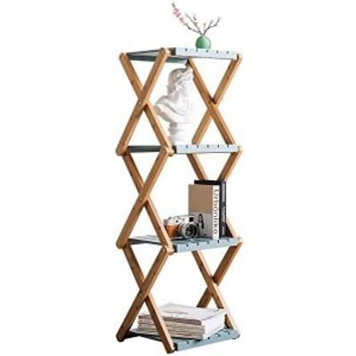 竹製4段ラック折り畳み収納棚、室外に花棚展示棚、室内に本棚多機能収納ラックフレーム、靴棚 トランペット ブルー 青(4段・小・青)
