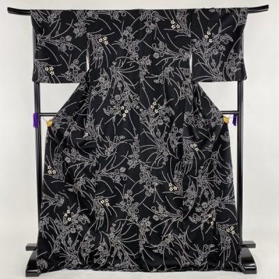 小紋 美品 名品 草花 部分絞り 黒 袷 身丈174.5cm 裄丈69cm L 正絹 【中古】