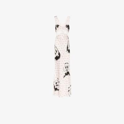 モスキーノ Moschino レディース ワンピース ワンピース・ドレス pumpkin face floral print lace trim maxi dress white