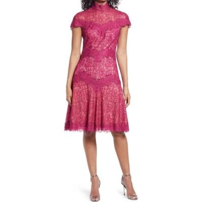 タダシショージ TADASHI SHOJI レディース パーティードレス カクテルドレス ワンピース・ドレス Lace Mock Neck A-Line Cocktail Dress Fuchsia/Nude