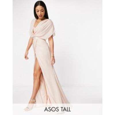 エイソス レディース ワンピース トップス ASOS DESIGN Tall Bridesmaid short sleeved cowl front maxi dress with button back detail