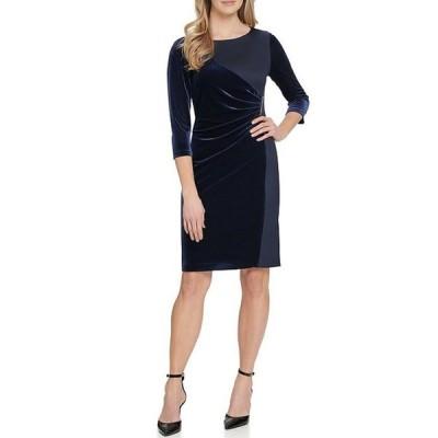 ダナ キャラン ニューヨーク レディース ワンピース トップス Ruched Detail Contrast Velvet Crepe 3/4 Sleeve Sheath Dress