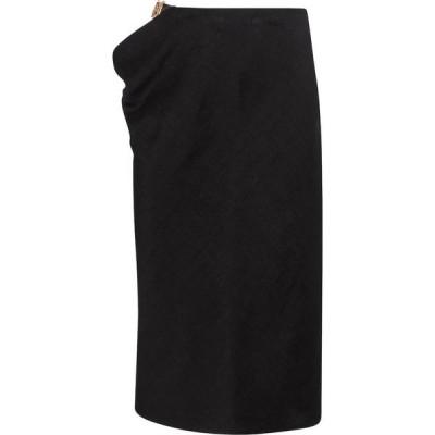 ヴェルサーチ Versace レディース ひざ丈スカート スカート Cutout linen-blend midi skirt Black