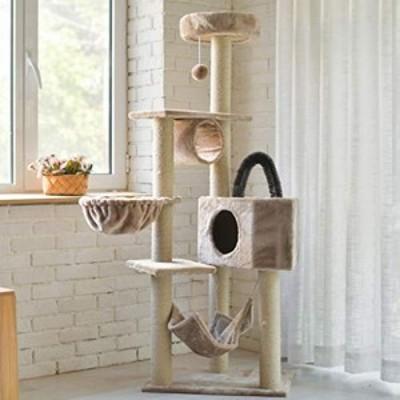多層の猫の木、大型猫登山フレーム、猫のスクラッチボード、猫の高級マンシ(中古品)