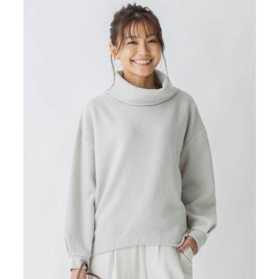 any FAM ニットライク起毛 タートルネックプルオーバー (ベージュ系)