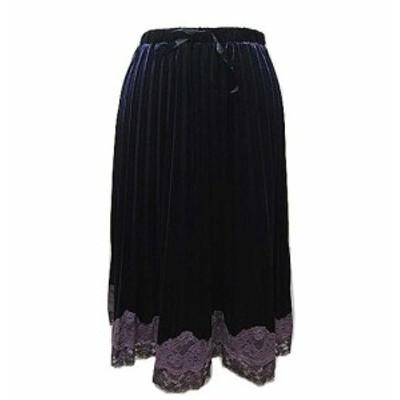 Miss ALICE「2」Race reshuffling velour skirt ミスアリス レース切替ベロアスカート 064593【中古】