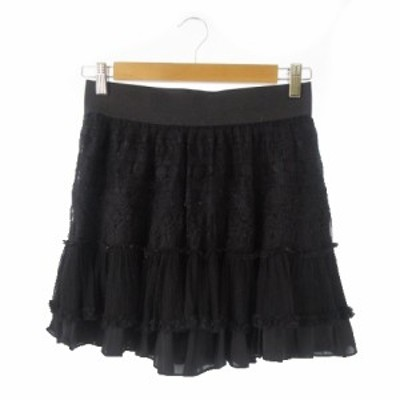 【中古】グレースコンチネンタル GRACE CONTINENTAL スカート フレア ミニ レース 刺繍 フリル ブラック レディース