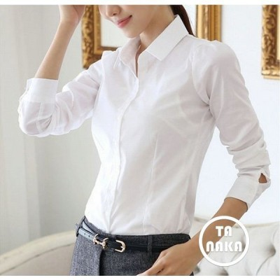 ブラウス シャツ 長袖 レディース トップス スリム タイト ホワイト 白 オフィス ワイシャツ 無地 Yシャツ カッターシャツ 女性用 婦人用 S