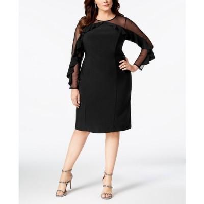 アールアンドエムリチャーズ ワンピース トップス レディース Plus Size Illusion Ruffle Sheath Dress Black