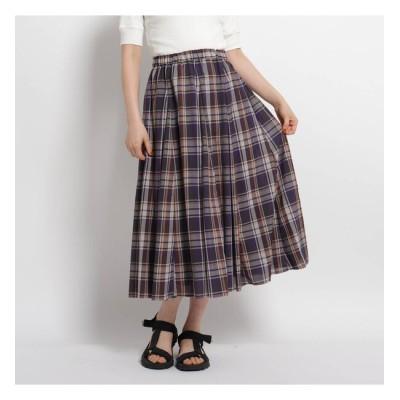 【デッサン/Dessin】 【S~Lサイズあり・洗える】ローンチェックフレアスカート