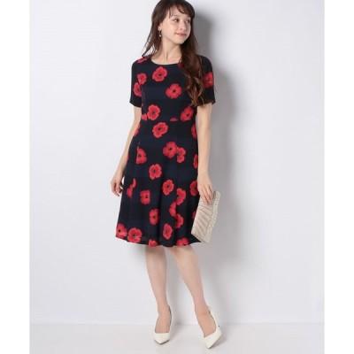 【ミス ジェイ】【洗える】フラワープリント ジョーゼットドレス