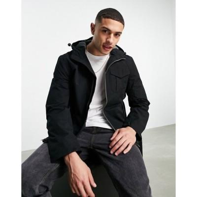ティンバーランド メンズ ジャケット・ブルゾン アウター Timberland hooded jacket in black