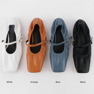 パンプス ローヒール フラットシューズ フロントストラップ スクエアトゥ ぺたんこ ペタンコ 黒 ブラック ホワイト オレンジ ブルー レディース 靴 婦人靴