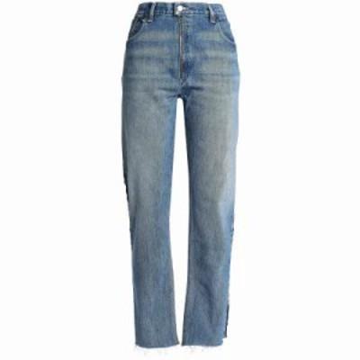 リーバイス ジーンズ・デニム Zip-detailed distressed high-rise straight-leg jeans Indigo
