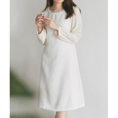 (tocco closet/トッコクローゼット)パール装飾ツイード切替ワンピース/レディース Off-white