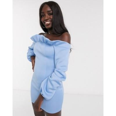 インザスタイル レディース ワンピース トップス In the Style exclusive bardot puff sleeve mini dress in blue