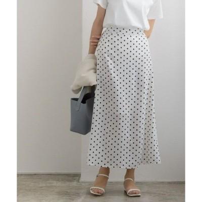 スカート ドット柄ナロースカート