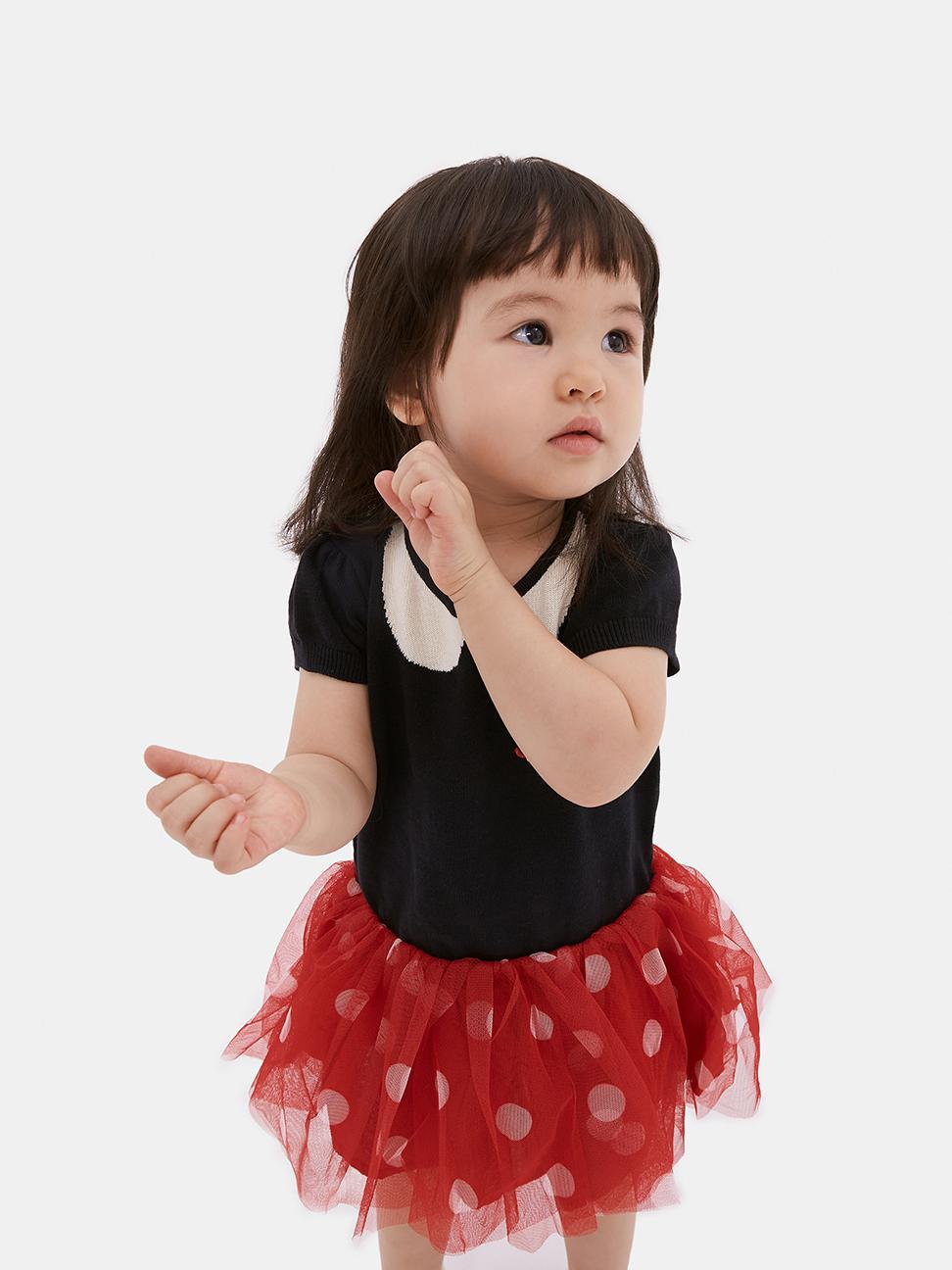 嬰兒 Gap x Disney 迪士尼系列甜美風格拼接紗裙洋裝