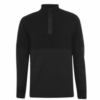 バブアー Barbour International メンズ スウェット・トレーナー トップス Sens Half Zip Sweatshirt Black BK