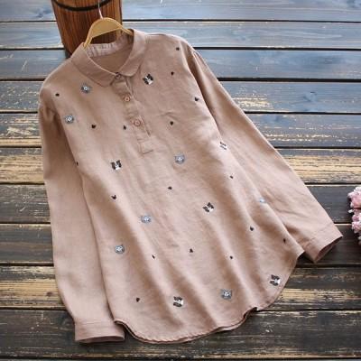 シャツ ブラウス レディース 40代 きれいめ 春 秋 麻 ネコ柄 刺繍 襟付き 長袖 プルオーバー トップス j98976