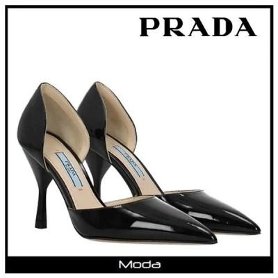 プラダ パンプス PRADA 靴 黒 ブラック プレーン ヒール レディース