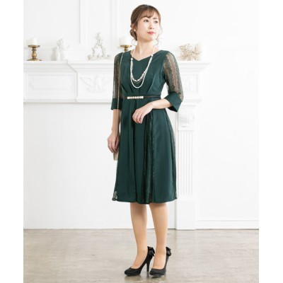 【袖付き】レース切替えひざ丈ワンピースドレス