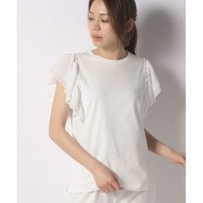 Leilian PLUS HOUSE/レリアンプラスハウス ティアードフリルスリーブTシャツ オフホワイト1 17+