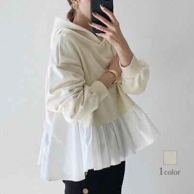 パーカー レディース フレア 裾 プルオーバー 切り替え トップス 異素材 裏起毛 長袖 カジュアル ゆったり 3
