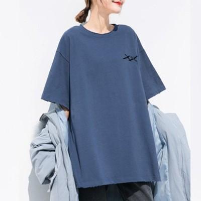 TシャツレディースBF風半袖無地t-shirttシャツゆったりシンプルレディーストップスカットソーおしゃれ夏