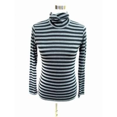 【中古】コムサイズム COMME CA ISM Tシャツ カットソー 長袖 タートルネック ボーダー M グレー 黒 ブラック