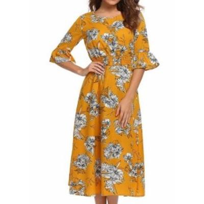 Maxi  ファッション ドレス Sheshow NEW Yellow White Womens Size Medium M Floral Print Maxi Dress