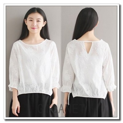 刺繍ブラウスホワイトシンプル七分袖新作カットソーブラウス大きいサイズ袖口フレアポイント消化