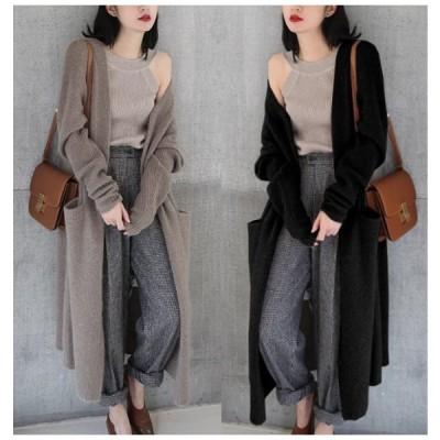 韓国ファッション ニット コート カーディガン オープン ロング ポケット付き 韓国スタイル リブ袖 2カラー ベージュ ブラック