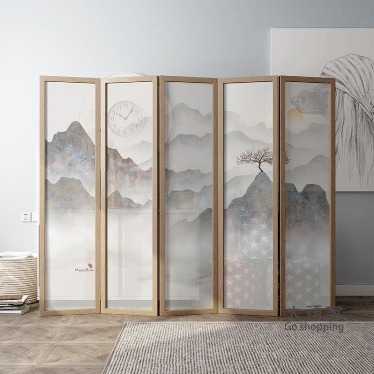 擺件屏風 新中式屏風隔斷客廳禪意山水現代簡約玄關臥室小戶型折疊行動折屏