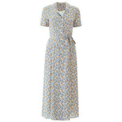 HVN/ヘイチヴィーエヌ ワンピース ORANGE AND BLUE FLOWER Hvn silk maria dress レディース 春夏2020 SS201404 ik