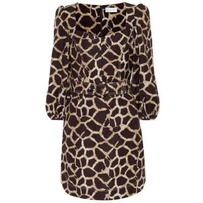 レベッカ ヴァランス Rebecca Vallance レディース ワンピース ワンピース・ドレス Acacia linen-blend minidress Giraffe Print