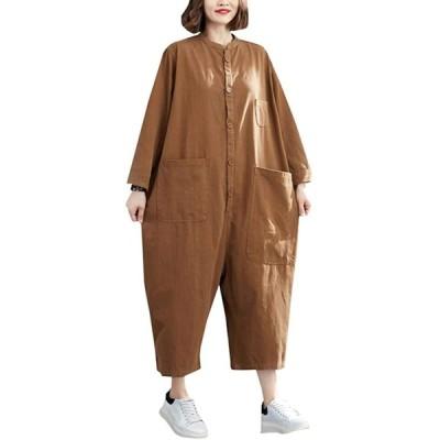 [ZHONGJUE]オールインワン レディース ワイドパンツ ゆったり つなぎ 長袖 カジュアル ロングパンツ サルエル ポケット付き おしゃれ オー
