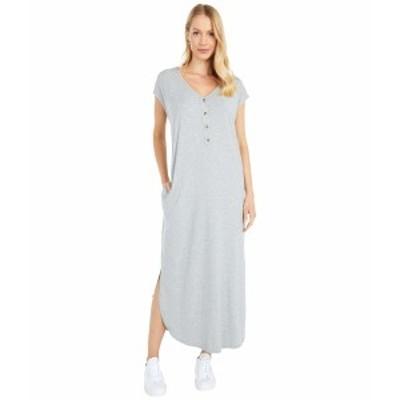 モッドドック レディース ワンピース トップス Cotton Modal Spandex Short Sleeve Henley Maxi Dress Smoke Heather